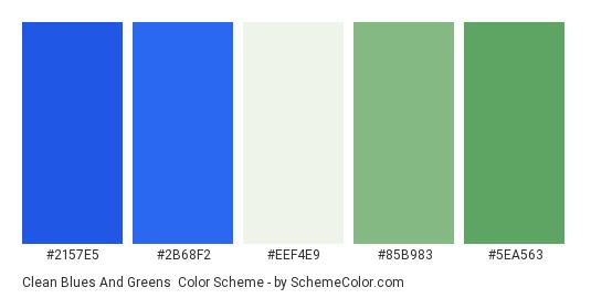 Clean Blues and Greens - Color scheme palette thumbnail - #2157e5 #2b68f2 #eef4e9 #85b983 #5ea563