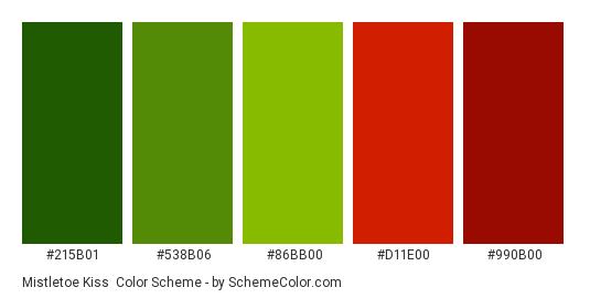 Mistletoe Kiss - Color scheme palette thumbnail - #215b01 #538B06 #86bb00 #d11e00 #990b00