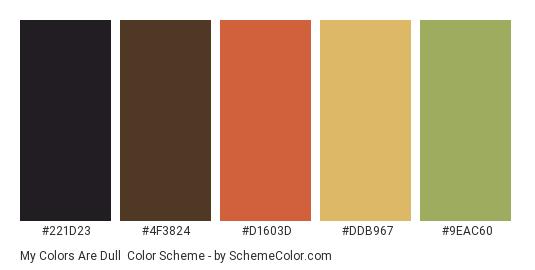 My Colors Are Dull - Color scheme palette thumbnail - #221d23 #4f3824 #d1603d #ddb967 #9EAC60