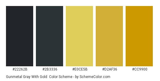 Gunmetal Gray With Gold Color Scheme Palette Thumbnail 22262b 2b3336 E0ce5b