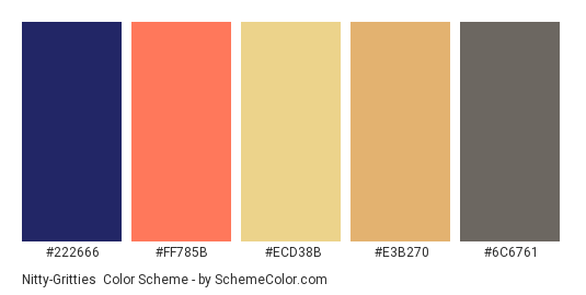 Nitty-Gritties - Color scheme palette thumbnail - #222666 #ff785b #ecd38b #e3b270 #6c6761
