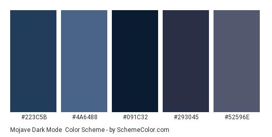 Mojave Dark Mode - Color scheme palette thumbnail - #223C5B #4A6488 #091C32 #293045 #52596E