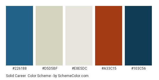 Solid Career - Color scheme palette thumbnail - #226188 #d5d5bf #e8e5dc #a33c15 #103c56