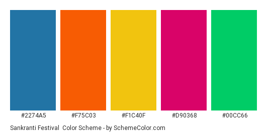 Sankranti Festival - Color scheme palette thumbnail - #2274a5 #f75c03 #f1c40f #d90368 #00cc66