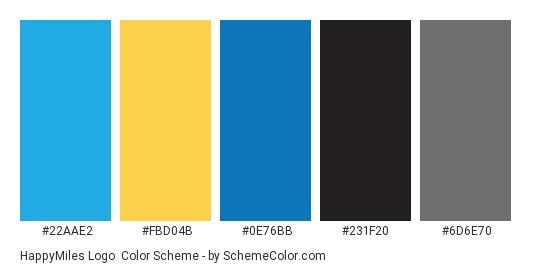 HappyMiles Logo - Color scheme palette thumbnail - #22aae2 #fbd04b #0e76bb #231f20 #6d6e70
