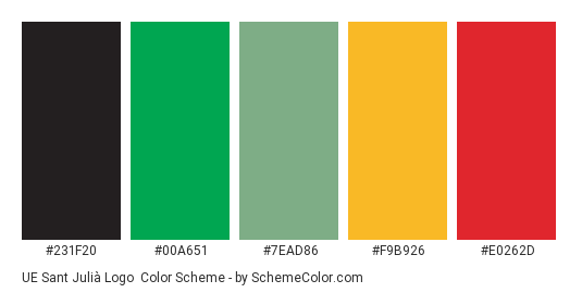 UE Sant Julià Logo - Color scheme palette thumbnail - #231f20 #00a651 #7ead86 #f9b926 #e0262d