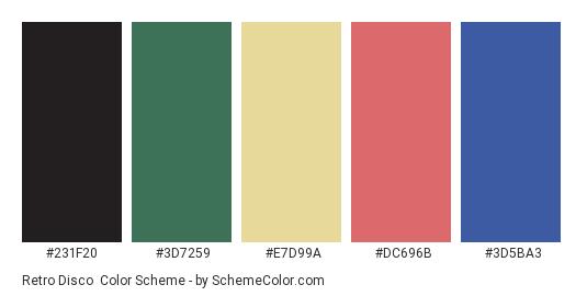 Retro Disco - Color scheme palette thumbnail - #231f20 #3d7259 #e7d99a #dc696b #3d5ba3