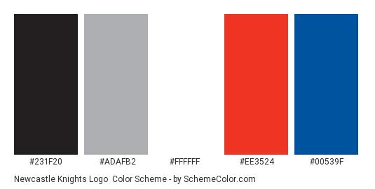 Newcastle Knights Logo - Color scheme palette thumbnail - #231f20 #adafb2 #ffffff #ee3524 #00539f