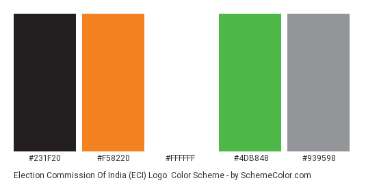 Election Commission of India (ECI) Logo - Color scheme palette thumbnail - #231f20 #f58220 #ffffff #4db848 #939598
