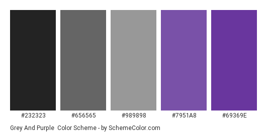 Grey And Purple Color Scheme Palette Thumbnail 232323 656565 989898