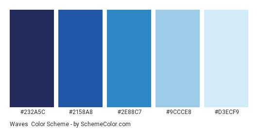 Waves - Color scheme palette thumbnail - #232a5c #2158a8 #2e88c7 #9ccce8 #d3ecf9