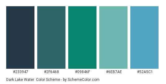 Dark Lake Water - Color scheme palette thumbnail - #233947 #2F6468 #09846F #6EB7AE #52A5C1