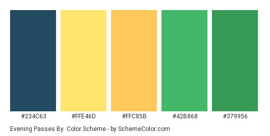 Evening Passes By - Color scheme palette thumbnail - #234C63 #FFE46D #FFC85B #42B868 #379956