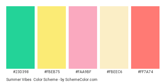 Summer Vibes - Color scheme palette thumbnail - #23d398 #fbeb75 #faa9bf #fbeec6 #ff7a74