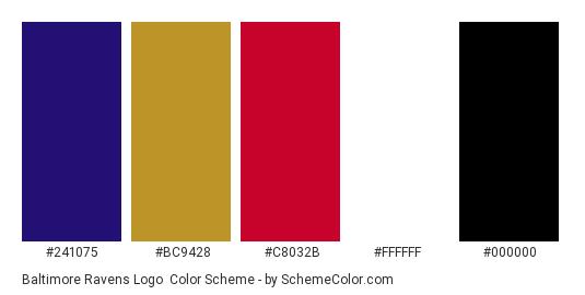 Baltimore Ravens Logo - Color scheme palette thumbnail - #241075 #bc9428 #c8032b #ffffff #000000
