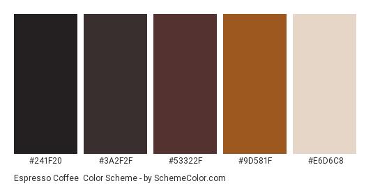 Espresso Coffee - Color scheme palette thumbnail - #241f20 #3a2f2f #53322f #9d581f #e6d6c8