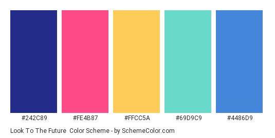 Look to the Future - Color scheme palette thumbnail - #242C89 #FE4B87 #FFCC5A #69D9C9 #4486D9