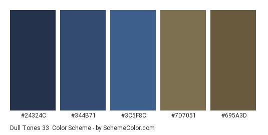 Dull Tones 33 - Color scheme palette thumbnail - #24324c #344b71 #3c5f8c #7d7051 #695a3d