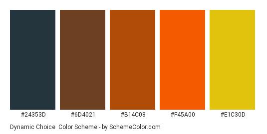 Dynamic Choice - Color scheme palette thumbnail - #24353d #6d4021 #b14c08 #f45a00 #e1c30d