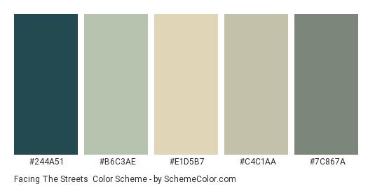 Facing the Streets - Color scheme palette thumbnail - #244a51 #b6c3ae #e1d5b7 #c4c1aa #7c867a