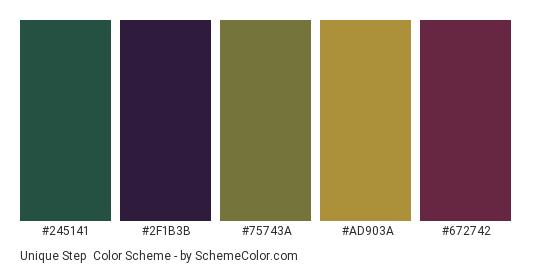 Unique Step - Color scheme palette thumbnail - #245141 #2f1b3b #75743a #ad903a #672742