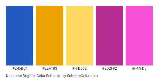 Napalese Brights - Color scheme palette thumbnail - #245BC1 #EEA103 #FFD862 #B52F92 #F44FD5