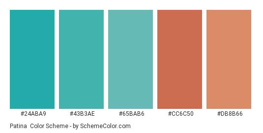 Patina - Color scheme palette thumbnail - #24aba9 #43b3ae #65bab6 #cc6c50 #db8b66