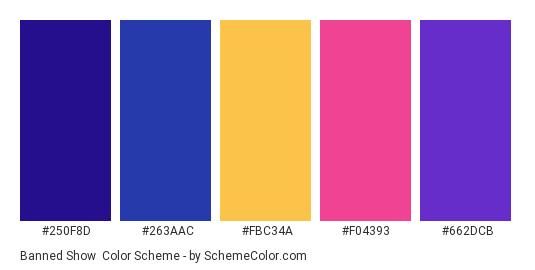 Banned Show - Color scheme palette thumbnail - #250F8D #263AAC #FBC34A #F04393 #662DCB