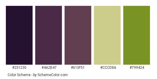 Eggplant Purple Color Scheme Palette Thumbnail 251230 4a2b47 613f51 Cccd8a