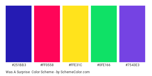 Was a Surprise - Color scheme palette thumbnail - #251BB3 #FF0558 #FFE31C #0FE166 #7543E3