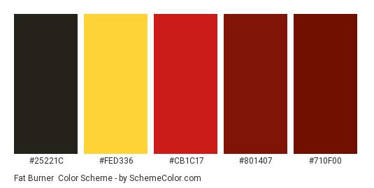 Fat Burner - Color scheme palette thumbnail - #25221c #fed336 #cb1c17 #801407 #710f00