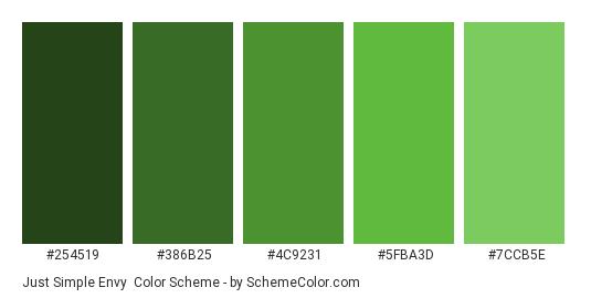 Just Simple Envy - Color scheme palette thumbnail - #254519 #386B25 #4C9231 #5FBA3D #7CCB5E