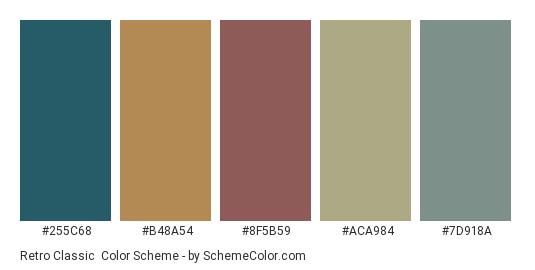 Retro Classic - Color scheme palette thumbnail - #255c68 #b48a54 #8f5b59 #aca984 #7d918a