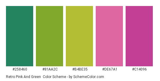Retro Pink and Green - Color scheme palette thumbnail - #258460 #81AA2C #B4BE35 #DE67A1 #C14096