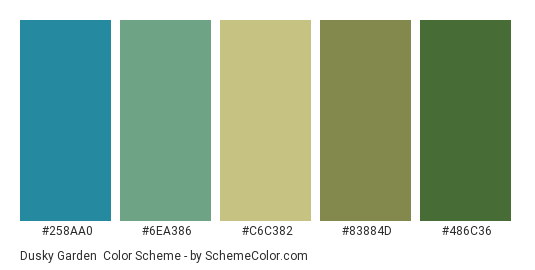 Dusky Garden - Color scheme palette thumbnail - #258aa0 #6ea386 #c6c382 #83884d #486c36