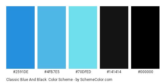 Classic Blue and Black - Color scheme palette thumbnail - #2591de #4fb7e5 #70dfed #141414 #000000