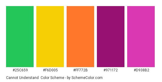 Cannot Understand - Color scheme palette thumbnail - #25C659 #F6D005 #FF772B #971172 #D938B2