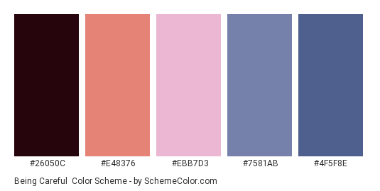 Being Careful - Color scheme palette thumbnail - #26050C #E48376 #EBB7D3 #7581AB #4F5F8E