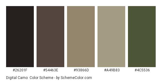 Digital Camo - Color scheme palette thumbnail - #26201f #54463e #93866d #a49b83 #4c5536