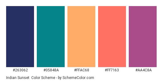 Indian Sunset - Color scheme palette thumbnail - #263062 #05848A #FFAC68 #FF7163 #AA4C8A