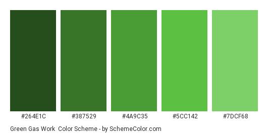 Green Gas Work - Color scheme palette thumbnail - #264E1C #387529 #4A9C35 #5CC142 #7DCF68