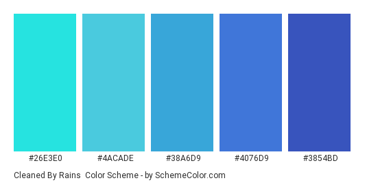 Cleaned by Rains - Color scheme palette thumbnail - #26E3E0 #4ACADE #38A6D9 #4076D9 #3854BD