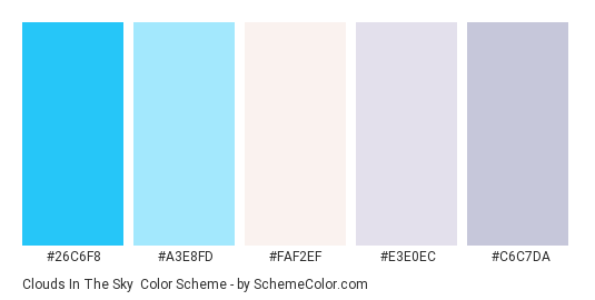 Clouds In the Sky - Color scheme palette thumbnail - #26c6f8 #a3e8fd #faf2ef #e3e0ec #c6c7da