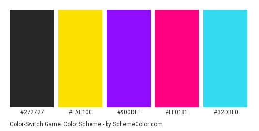 Color-Switch Game - Color scheme palette thumbnail - #272727 #fae100 #900dff #ff0181 #32dbf0