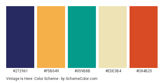 Vintage Is Here - Color scheme palette thumbnail - #272961 #f5b049 #059b8b #ede3b4 #d84b25