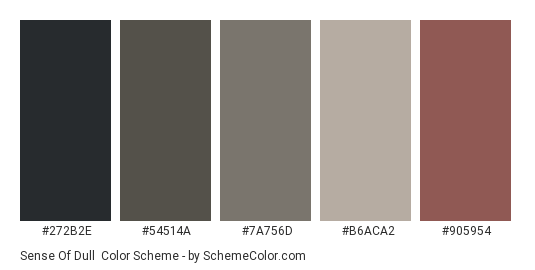 Sense of Dull - Color scheme palette thumbnail - #272b2e #54514a #7a756d #b6aca2 #905954