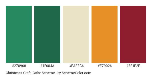 Christmas Craft - Color scheme palette thumbnail - #278960 #1F684A #EAE3C6 #E79026 #8E1E2E