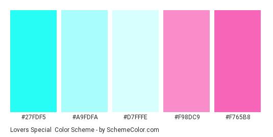 Lovers Special - Color scheme palette thumbnail - #27FDF5 #A9FDFA #D7FFFE #F98DC9 #F765B8
