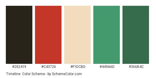 Timeline - Color scheme palette thumbnail - #282419 #c43726 #f1dcbd #449a6d #366b4c
