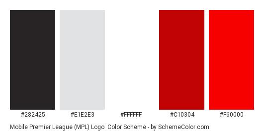 Mobile Premier League (MPL) Logo - Color scheme palette thumbnail - #282425 #E1E2E3 #FFFFFF #C10304 #F60000